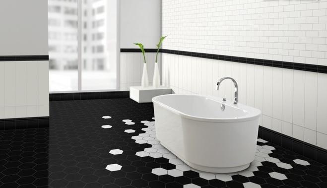 Un bagno optical come arredarlo in puro stile black white