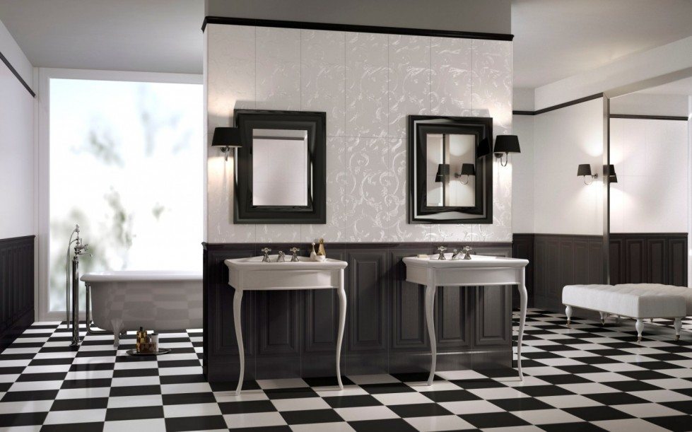 Un bagno optical come arredarlo in puro stile black white for Arredo bagno black friday