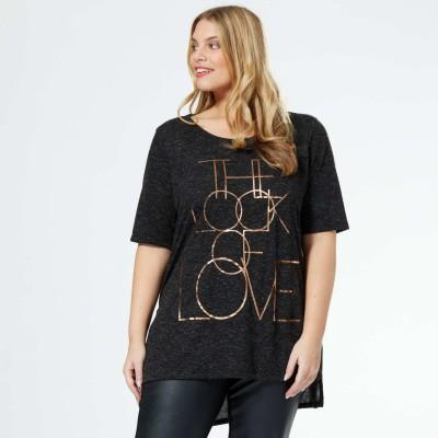 maglietta stampa lettere nero kiabi moda curvy 2016 mamme a spillo
