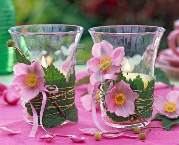 Bicchieri-portacandele-decorati-con-fiori-di-stoffa