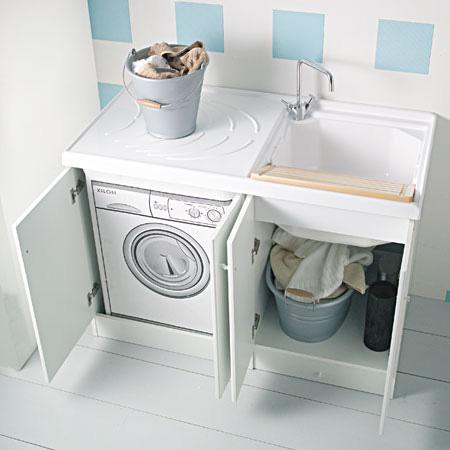 Lavanderia a casa ecco gli indispensabili anche con poco - Mobile coprilavatrice con lavatoio ...