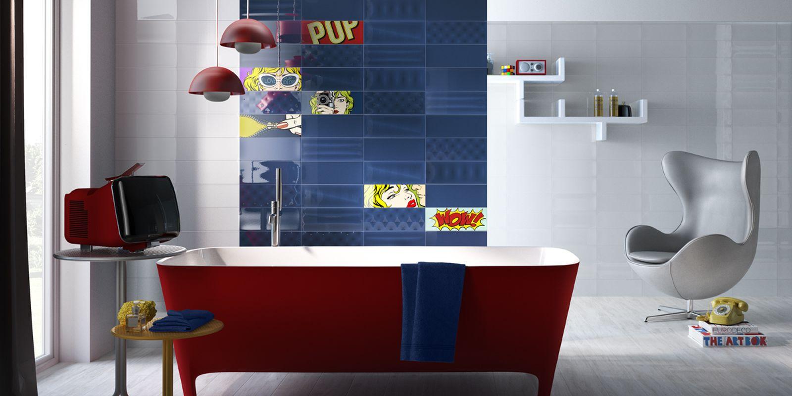 bagno in stile pop art tanto colore e forme anni 39 60